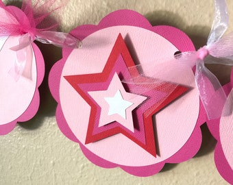 Star Party Banner, Girl Doll Birthday Party, American Party Decoration, Pink Girl Star Birthday Sign