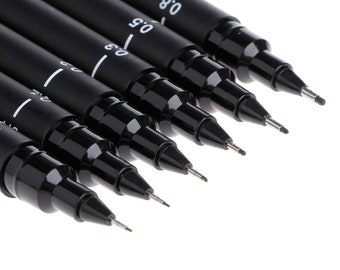 Drawing Pens Wallet of 6 Black 005 01 02 03 05 08 Derwent Graphik Line Makers