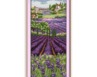Lavender Lovers Kiss Love Paintings Counted Printed On Canvas Dmc 11ct 14ct Chinese Cross Stitch Kits Embroidery Needlework Sets Arts,crafts & Sewing Package