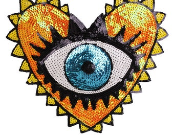 95a6dc4d91deb 1Pc Love Large Sequin Heart Evil Eyes Patch No Glue Cartoon Motif Applique  Embroidery Garment Accessory