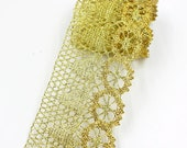 7cm wide, 10 yards Gold Thread Knitted Lace Ribbon Trims Wedding Party Home Decoration DIY Handmade Patchwork Lace Supplier