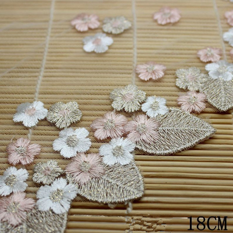 2 Yards 18 cm Lace Trims Gold Thread Flower Cloth Embroidery Lace Clothing Accessories Barbie Lace Decorative Edge