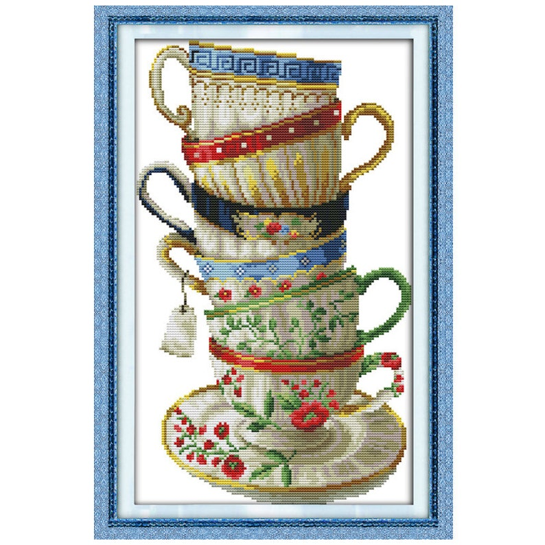 Elegant Coffee Cup Counted Cross Stitch 11CT Printed 14CT Cross Stitch Sets Chinese Cross-stitch Kits for Embroidery Needlework