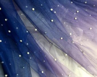Deep Blue Pearl Decor Mesh Cloth Soft Gradient Ombre Net Fabric Wedding