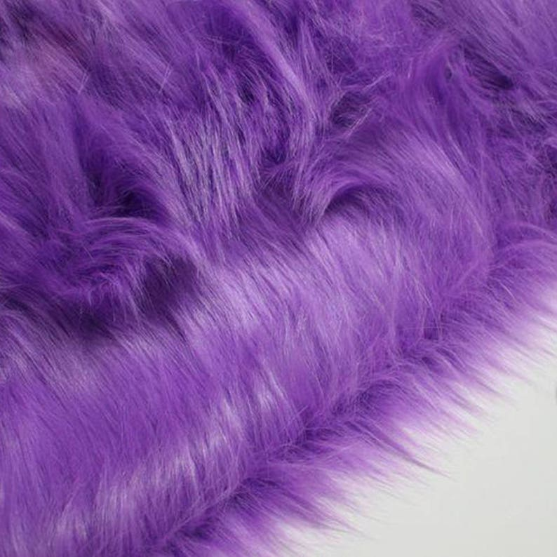 Vest Cosplay Stage Decor High Grade 9 cm Long Hair Purple Faux Fur Fabric for Winter Coat