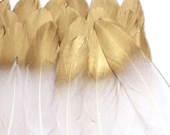 36 Pcs Gold Dipped Natural White Feathers for Various Crafts, DIY Decor Feathers, Wedding Feather Decoration