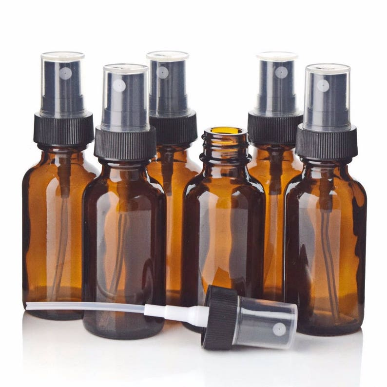 dcf10ad63888 6pcs 1Oz 30ml Amber Glass Spray Bottle w/ Black Fine Mist Sprayer  Refillable Essential Oil Bottles Empty Cosmetic Containers