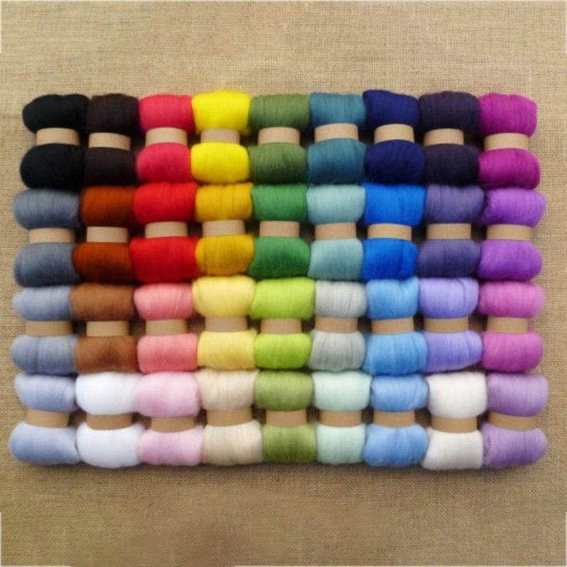 36 Colors 3g Felting Wool Fiber Wool Felt Starter Kit For Needle Felting Roving Dyed Spinning Wet Felting Fiber for DIY Crafts