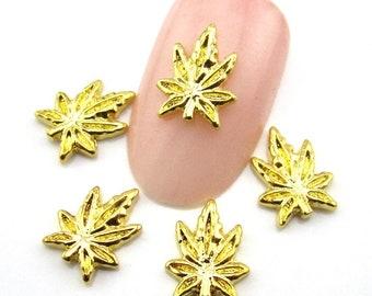 10pcs Gold Leaf for 3D Nail Decorations Jewelry Nail Art Metal Studs