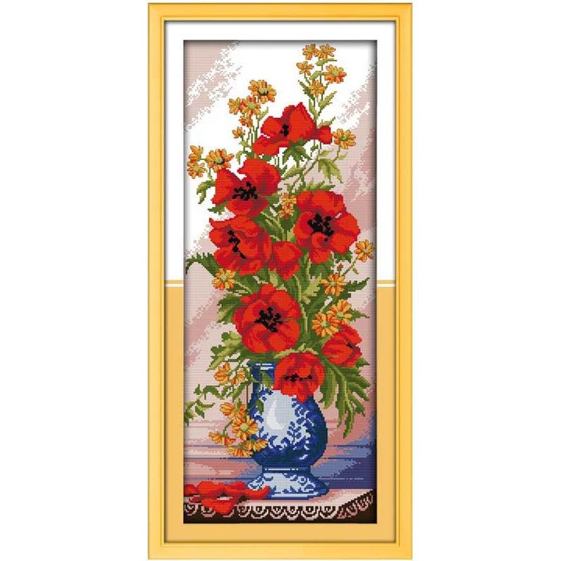 Poppy Celadon Vase Counted Cross Stitch 11CT 14CT Cross Stitch Flowers Cross Stitch Kits for Embroidery Home Decor Needlework