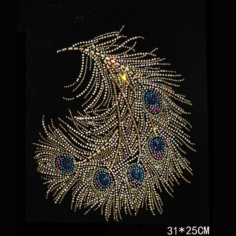 Gold Peacock Design Hotfix Rhinestone Heat Transfer Design  12f4f57d666a