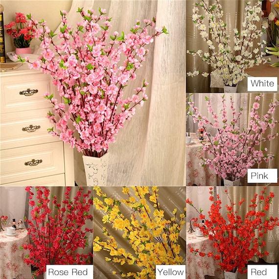 Artificial Cherry Spring Plum Peach Blossom Branch Silk Flower Tree Party Decor