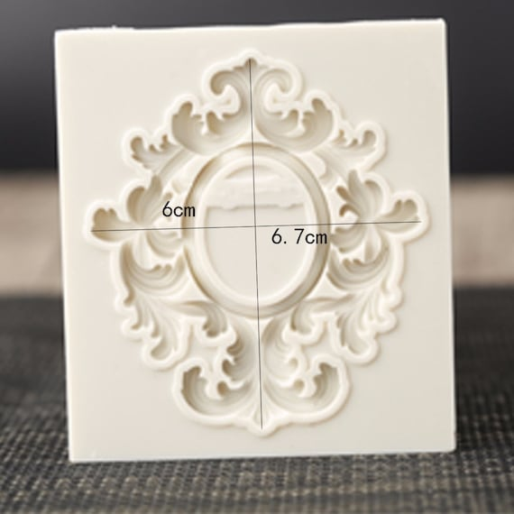 Ornate Leaf Frame Mould Victorian Scrollwork Flourish Silicone Molds Polymer Clay Resin Fondant Mould for Wedding Cake