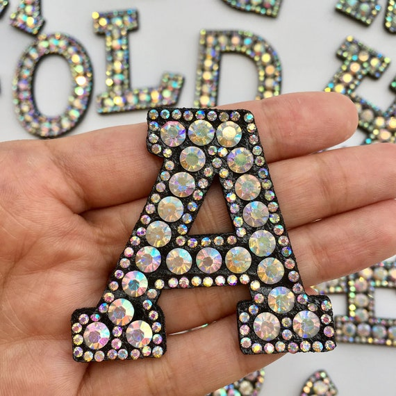 ALPHABET LETTERS EMBROIDERED IRON ON BADGE SEW ON PATCH SILVER A-Z APPLIQUE