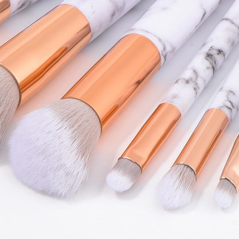 cec9c12a22f54 Set 6-10 Pcs Unicorn Makeup Brush Marble Stripe Cosmetic Makeup Brushes Set  Foundation Eyeshadow Brush Blusher Powder