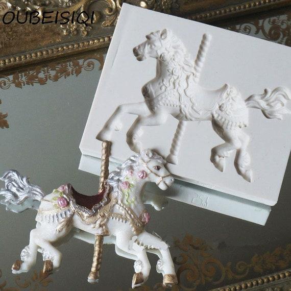 Jewelry Carousel Horse Silicone Mould Cake Decorating Chocolate Baking Mold 8C