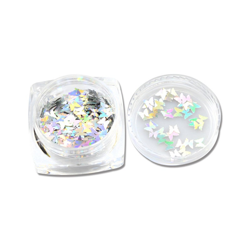 2019 New 1 Bottle Nail Art Sparkly Glitter Silver Laser Butterfly Sequins Slice Nail Thin Paillette Decoration 3D Tips