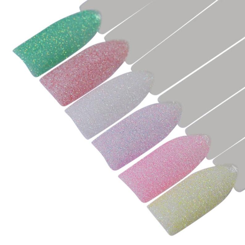 ac4d9bcb5d 6Pcs Candy Colors 1g Holographic Sugar Nail Glitter Powder Colorful Sandy  Summer Nail Art Pigment Decoration