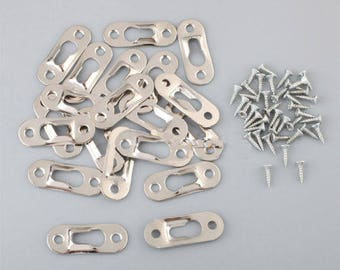 20x Heavy Duty Flat Keyhole Picture Frame Hangers Two Hole Hanging Bracket Plate