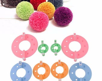 Set 8 Pieces Pom pom Maker Tools for Knitting Appareil Bommel Pompoms Maker Clover Fluff Ball Weaver Needlecraft Art Tools for Needlework