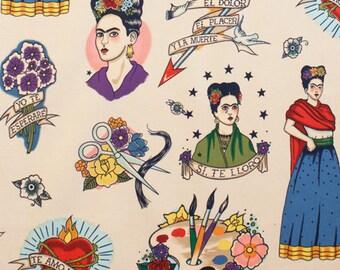 Pinup Rockabilly Retro Vintage Frida Kahlo Print Patchwork Fabric Cloth Tela para artesanato textile material (0.5meter)