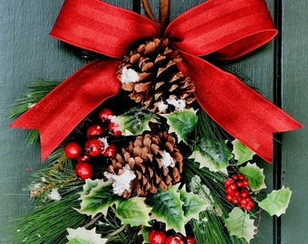 Christmas Snow - Pine, Holly and Berry Swag, Winter Swag, Winter Wreath, Christmas Wreath, Christmas, Winter, New Year's Eve, Holiday