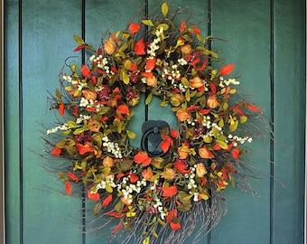 Fall Wreaths for Front Door, Pumpkin Spice - Chinese Lantern and Berry Wreath, Autumn Wreath, Harvest Wreath, Wall Decor, Farmhouse Decor
