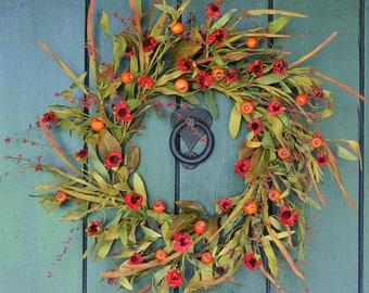 Fall Wreath, Autumn Wreath, Foliage and Berry Wreath, Fall Leaves, Harvest Wreath, Fall Decor, Front Door Wreath, Fall, Autumn