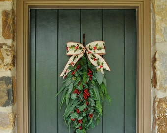 Elegant Christmas ~ Traditional Holly and Pine Swag, Winter Wreath, Christmas Wreath, Holiday Decor, Christmas, Winter, Christmas Swag