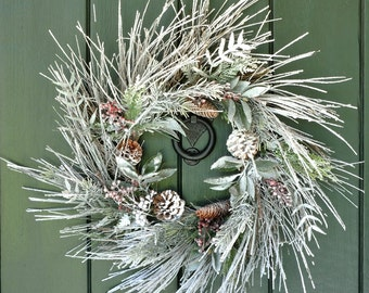 Winter Wreaths for Front Door, Christmas Wreath, Winter Whisper - Snowy Pine, Cone and Berry Wreath, Christmas Decor, After Christmas Wreath