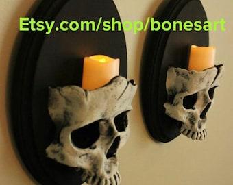 Set of Skull Sconces
