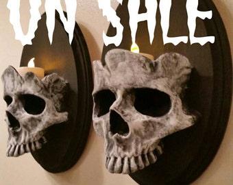 GREY Skull Sconces