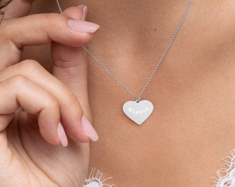 Fiancé Engraved Sterling Silver Heart Necklace Gift for Fiancé Enagement Gift for Bride Gift for Her Simple Heart Necklace