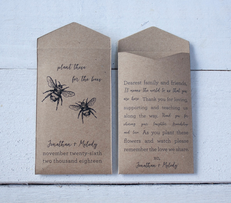 Plant These For The Bees Seed Packet Wedding Favors Etsy