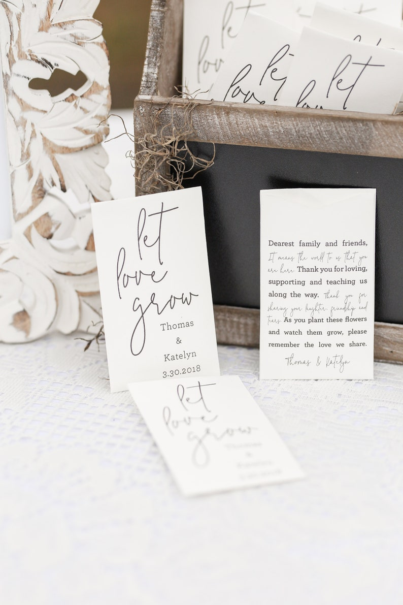 DIY Let Love Grow Seed Packets Custom Seed Packet Wedding Favors Personalized Seed Packet Envelopes Favor Seed Packets Guests #b102