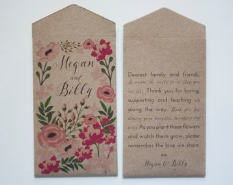 DIY Romantic Kraft Seed Packet - Custom Garden Party Wedding Favors - Personalized Wild Flower Seed Packet - Many Colors Available