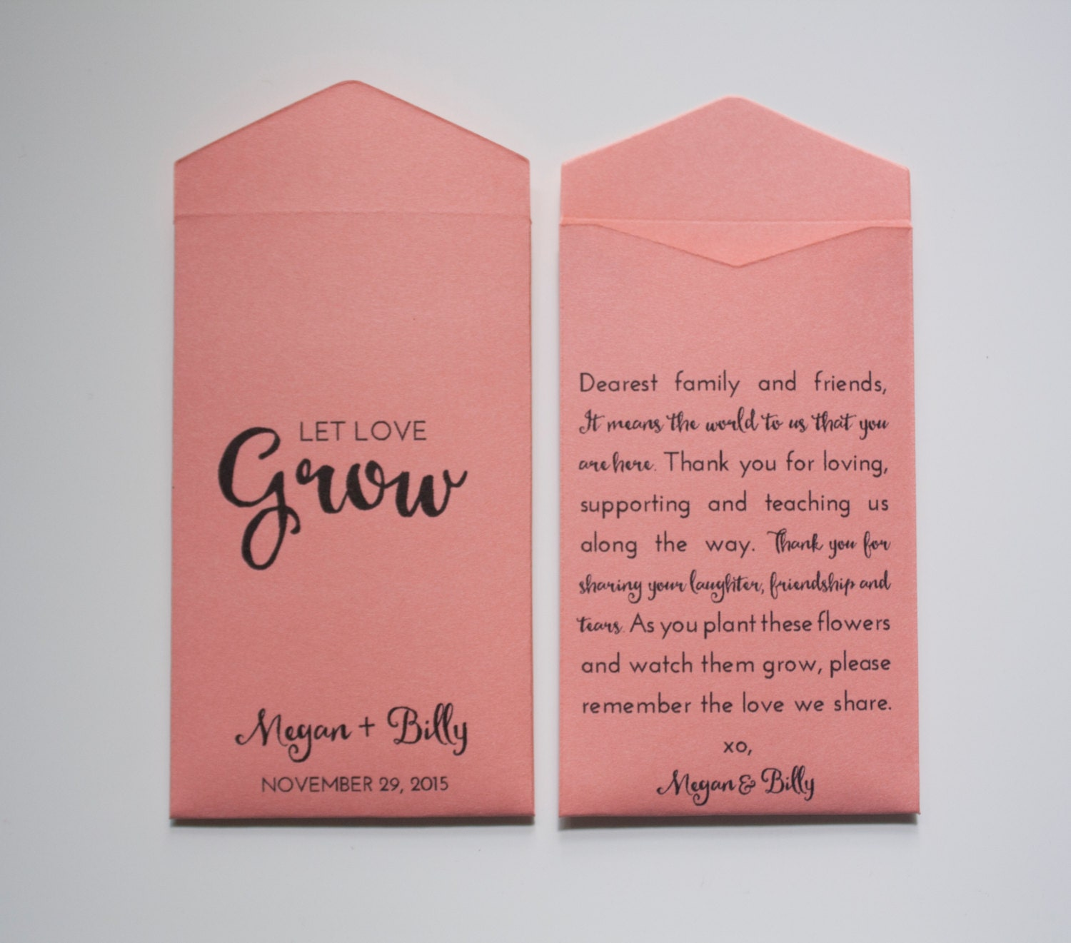 Custom Coral Seed Packet Wedding Favors Many Colors