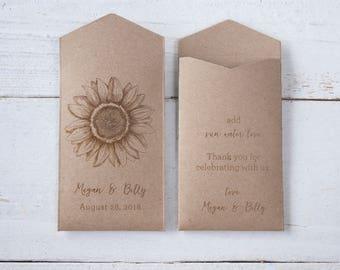DIY Sunflower Seed Packets | Woodsy Wedding Favor | Personalized Seed Packets | Sunflower Wedding Favor | Rustic Sunflower Seed Envelopes