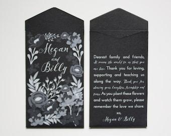 DIY Custom Printed Garden Wedding Seed Packet Favors - Black and White Wedding Favor Envelopes - Wildflower Wedding Favor