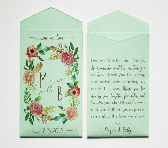 Custom Rustic Wedding Favor Seed Packet Envelopes Light Etsy