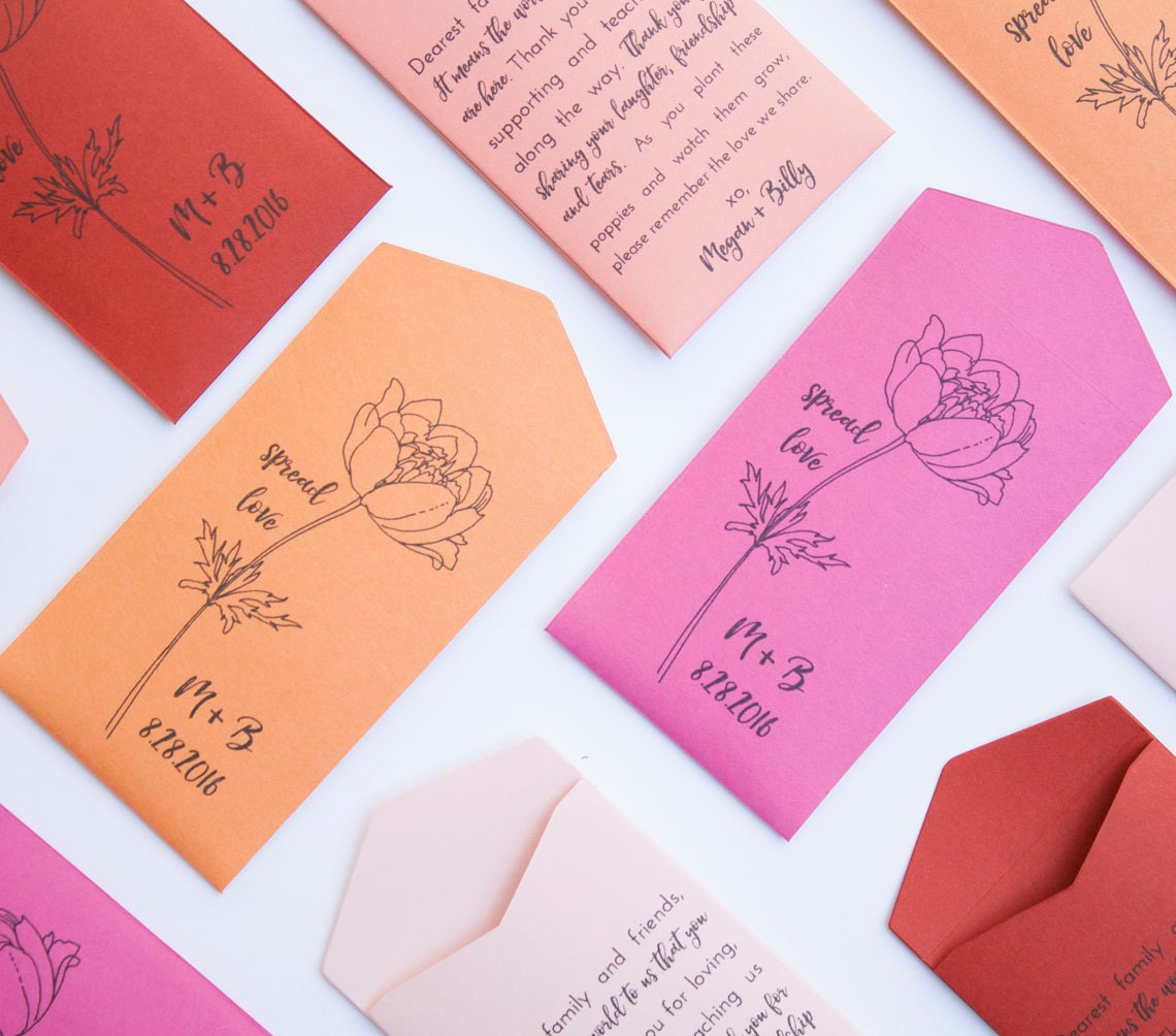 Poppies Personalized Seed Packet Wedding Favors Poppy Seed