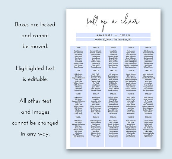 graphic relating to Printable Seating Chart identified as Pull Up A Chair Marriage ceremony Seating Chart Printable Seating Chart Occasion Seating Chart Wedding ceremony Reception Seating Chart Poster Editable PDF #b102