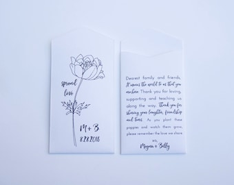 DIY Personalized Poppy Seed Packet - Spring Wedding Favor - Custom Seed Packets - Rustic Wedding Favors - Poppy Seed Packet - Unique Favors