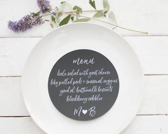 Wedding Menu | Wedding Menu Cards | Custom Wedding Menu Card | Round Plate Menu Cards | Reception Menu | Menu Cards | Black Round Menus