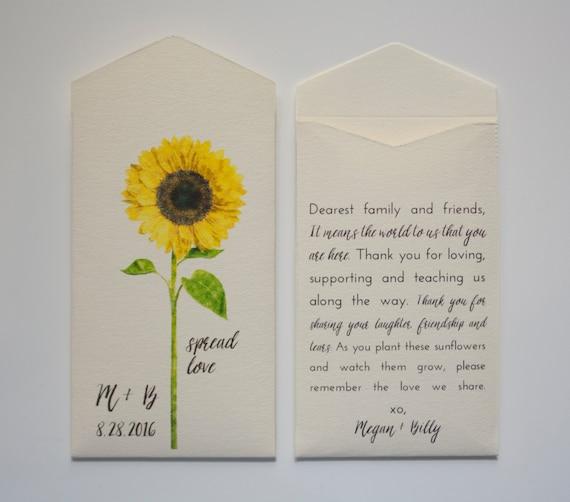 Cream Sunflower Seed Packet Wedding Favor Envelopes Simple Etsy