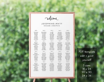 Wedding Seating Chart – Printable Seating Chart – Seating Chart Wedding – Printable Seating Chart Poster – Editable PDF – #b101