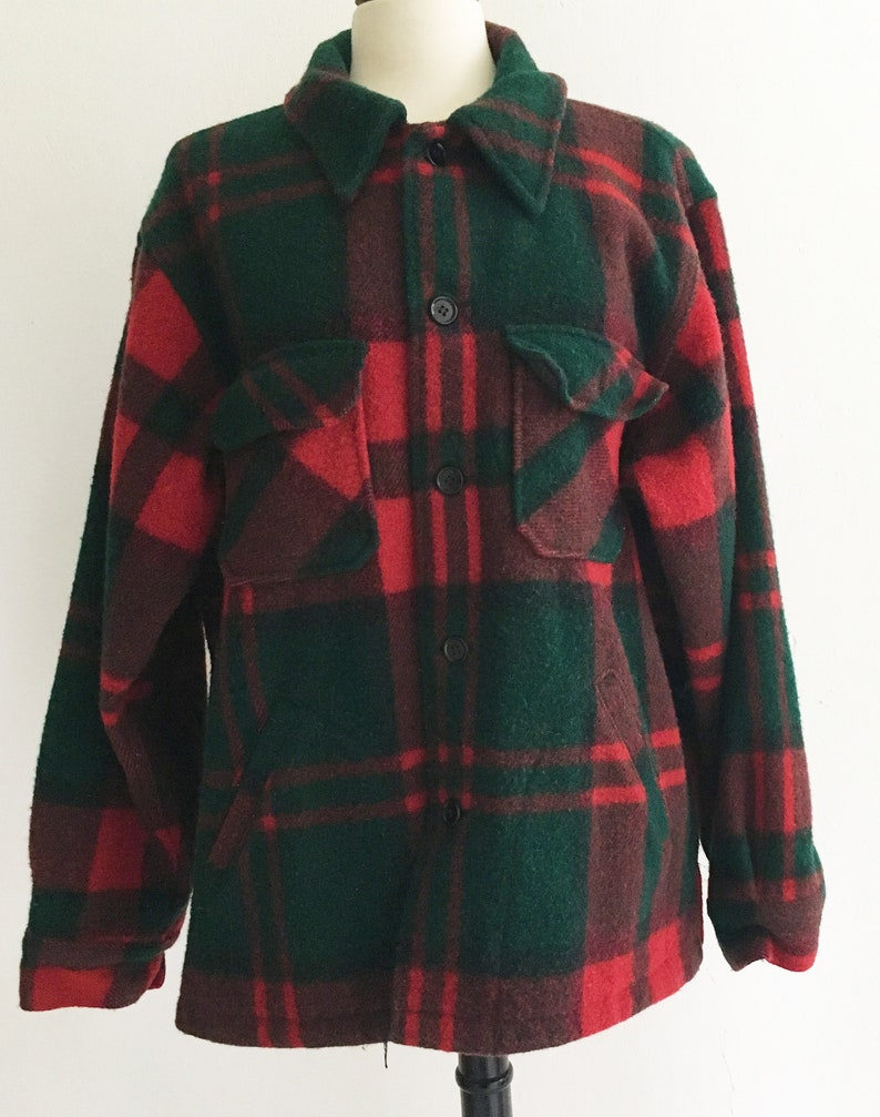 37a0f1496bd1a Vintage LL Bean Hunting Shirt. Heavy Wool. Red Green Black