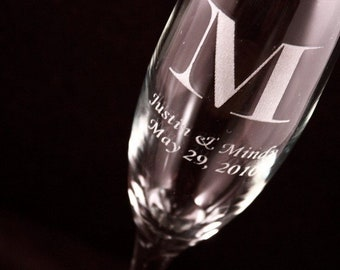Personalized Champagne Flutes Set of Two - 6 oz. - Laser Engraved, Bride & Groom Gift