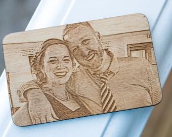 Photo Engraved Wood Wallet Card - Laser Engraved