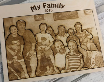 Photo Engraved Wood Board Puzzle - Mother's Day, Gift for Mom